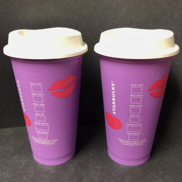 2x Starbucks Color Changing Cups Valentine NEW